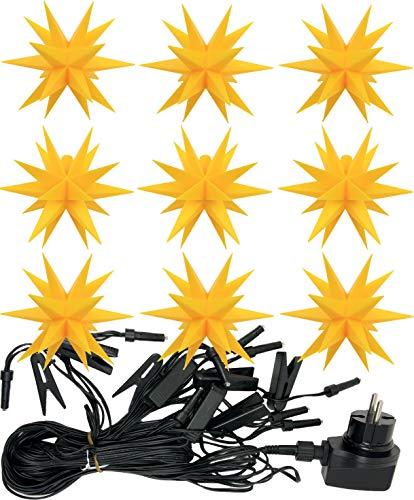 3D LED 9er Sternenkette für innen & außen Stern Adventsstern Außenstern Weihnachtsstern Neuheit (gelb)