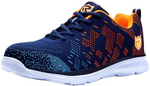 LARNMERN Steel Toe Shoes Women, Safety Work Shoes Women Lightweight Womens Breathable Work Shoe Sneakers Construction Indestrutible Womens Slip Resistant Sneaker 112K(7 Women, Blue&Orange)