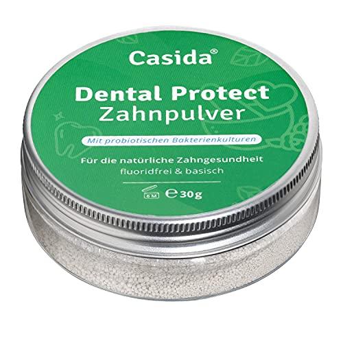 Dental Protect Zahnpulver - Zahnpflegepulver ohne Fluorid - Mit 2 Bakterienstämmen, keine Schaumbildner und Konservierungsstoffe - Basisch & Vegan - 30g - Aus der Apotheke