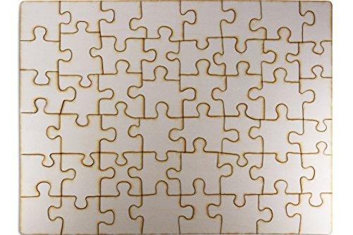 Kopieerwinkel houten puzzel blanco met 48 delen, om zelf vorm te geven en te beschilderen, grote puzzel 600 x 435 mm uit multiplex in jute zak, incl. puzzelpatroon
