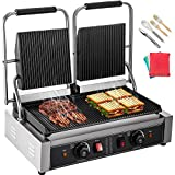 Happybuy 110V Commercial Sandwich Panini Press Grill 2X1800W Temperature Control 122°F-572°F...