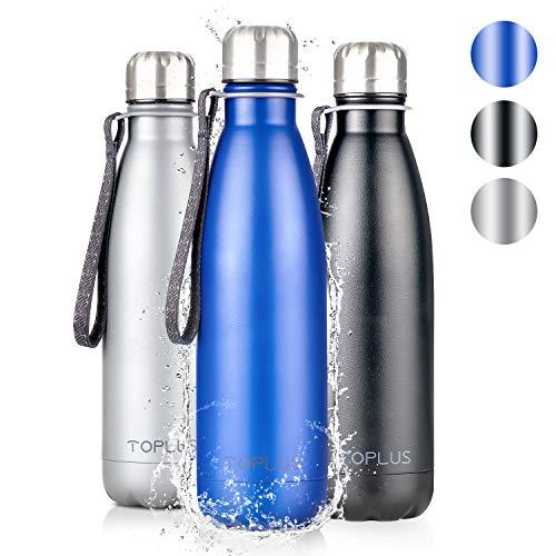 TOPLUS Thermobecher/Isolierbecher 500ml, Thermosflasche Isolierflasche, Vakuum Isolierte 304 Edelstahl Reisebecher, Kein BPA Trinkflasche - 24 Std Kühlen & 15 Std Warmhalten, 100% dicht, Blau