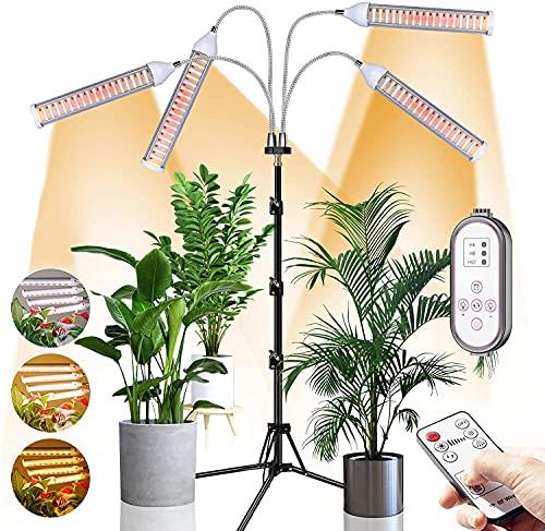 CXhome 432 LEDs Pflanzenlampe Vollspektrum Pflanzenlicht mit Stativ Verstellbar 15-58 Zoll Pflanzenleuchte Grow Lampe für Zimmerpflanzen mit Zeitschaltuhr 4 Modi 9 Stufige Helligkeit RF Controller