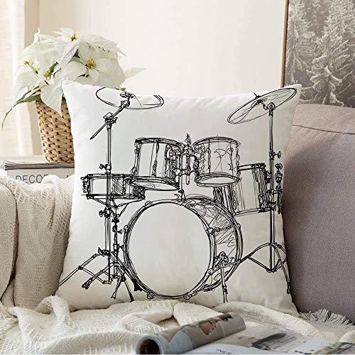 Dekorative Kissenbezüge Kissenbezug Instrument Zeichnung Musik Rock Graphics Roll Musical Set Schlagzeug Kit Percussion Scalable Jazz Becken Kissenbezug für Couch Sofa
