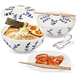 Ceramic Ramen Noodle Bowls - Full Set of Two - Large 50oz with lids, chopsticks, spoons. Japanese...