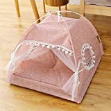 WANK Cat Tent Cave Bed for Indoor Cat and Small Dog, Portable Folding Pet Tent House Self-Warming Comfortable Triangle Kitten Bed Hut