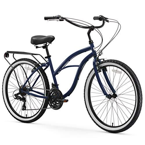 "sixthreezero Around The Block Women's 21-Speed Beach Cruiser Bicycle, 26"" Wheels, Navy Blue with Black Seat and Grips"