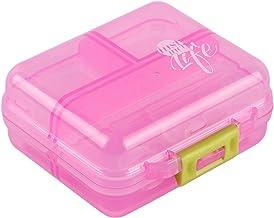 Bidear Pill Case Small Travel Vitamin Tablet Organizer Fish Oil Container Box for Purse Pocket, 7 Compartments(Pink)