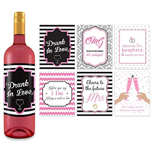 "Bachelorette Wedding Wine Bottle Labels - 4"" x 5"" (6 pack) Bridal Shower Party Favors Gifts Bridesmaids Engagement Decorations Bride Maid of Honor Marriage Reception Rehersal Dinner"