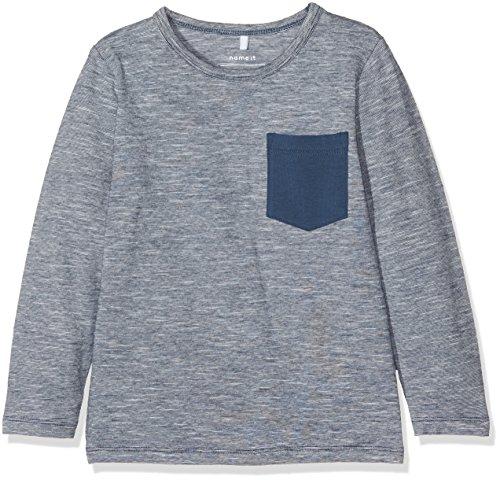 Name It Nitfenke Ls Top Box Mini, T-Shirt à Manches Longues Bébé Garçon, Bleu (Insignia Blue Detail:Melange), 98