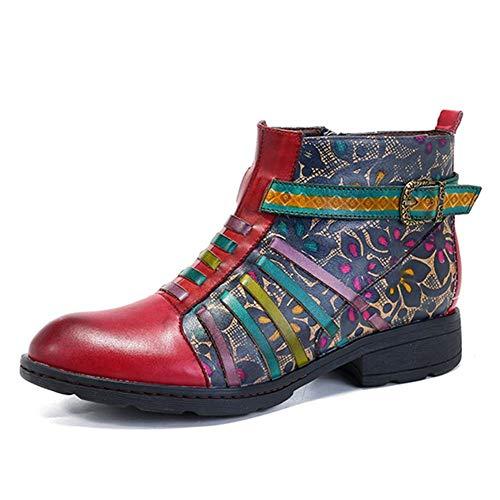 DFNNMXZ Damenstiefel Retro Echtleder Stiefeletten Damen Schuhe Vintage Bohemian Spring Autumn Zip Printed Streifen Schuhe Frau 7 Dunkelblaue Stiefel
