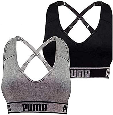 Puma Ladies Sports Bra Large Size, 2 Count, Black-Gray