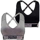 PUMA レディース シームレススポーツブラ 取り外し可能なカップ - 調節可能なストラップ 吸湿発散性 (2パック) US サイズ: Medium カラー: マルチカラー