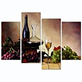 wine and grapes canvas art - sechars - Vintage Red Wine and Grape Canvas Wall Art Stretched and Framed Still Life Painting Print for Kitchen Restaurant Decor