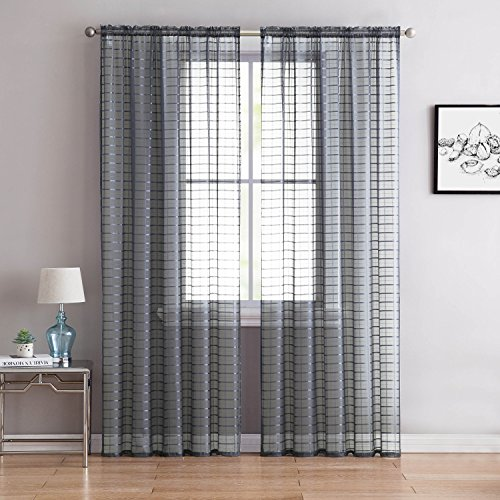 "Victoria Classics Home Single (1) Sheer Rod Pocket Window Curtain Panel: 55"" W X 84"" L, Plaid/Check Design (Silver)"
