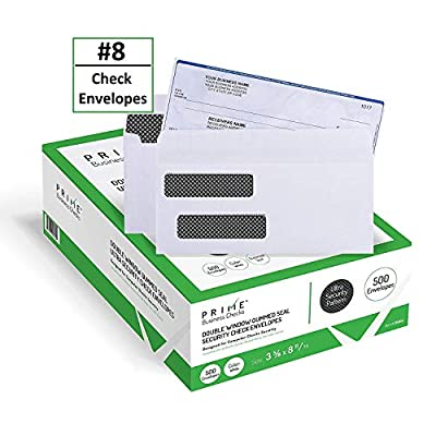 "500 Quickbooks Security Check Envelopes Double Window - Designed for Business Checks, Quickbooks, Laser Checks - Security Tinted - Moisture Activated Gummed Security Seal - White - Size 3 5/8"" X 8 11/16"" (Checks Will Not Move) NOT for Invoices - 24 Lb"