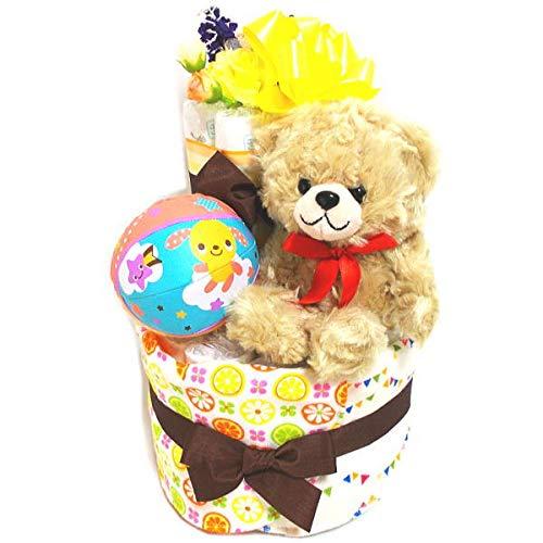 2121aおむつケーキ2段男の子女の子 日本製ガーゼ素材のスタイ2枚とクマちゃんのぬいぐるみ(ブラウン) パンパースS28枚オムツケーキ出産祝い