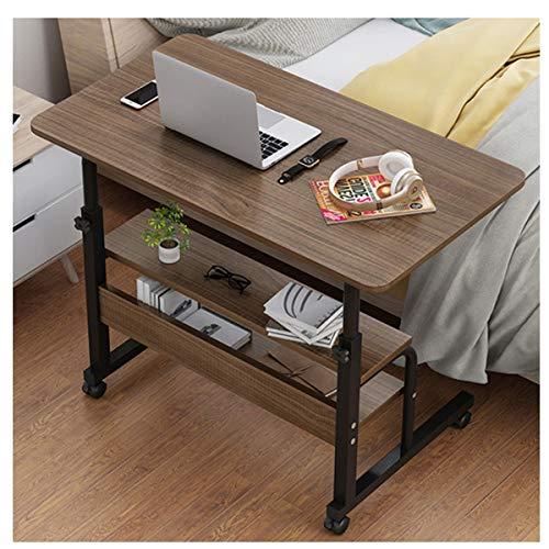 Portable Laptop Table Computer Desk Height Adjustable Writing Desk Bed Side Table Furniture for bedroom, living room, study (Color : Black oak, Size : 80 * 40CM)