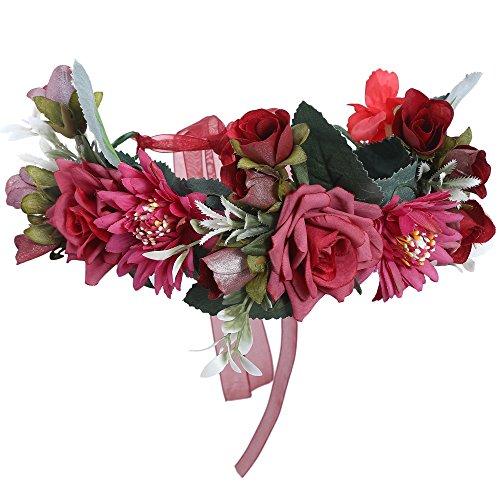 AWAYTR Blumen Stirnband Hochzeit Haarkranz Krone - Frauen Mädchen Blumenkranz Haare für Hochzeit Party(Dunkelrot)