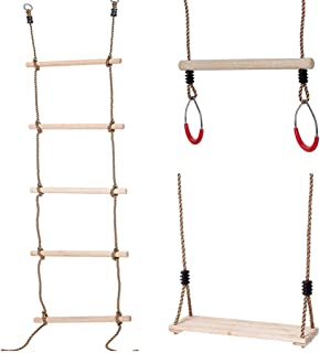 Vocheer Climbing Rope Ladder for Kids, Wooden Swing Set, Wooden Swing Seat, Wooden Trapeze Bar with Rings for Tree Outside Backyard