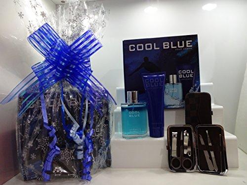 Blue pour homme Intense pour homme Eau de toilette Parfum Lot d'énergie et nasal épilation Cadeau kit, 2 pièces