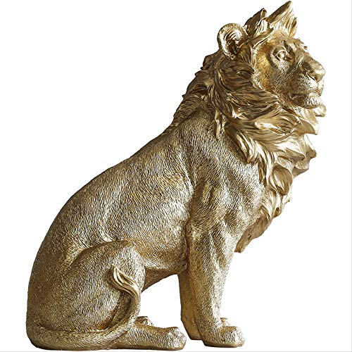 WGLG - Figura decorativa moderna de resina dorada, diseño de león exquis...