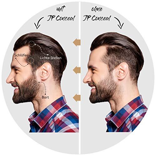JP Conceal - Premium Ansatzpuder für Männer & Frauen, wasserfestes 3in1 Haar Make-Up zur gezielten Haarverdichtung am Ansatz, Scheitel oder Bart. Concealer zum Kaschieren lichter Stellen (Hellbraun)