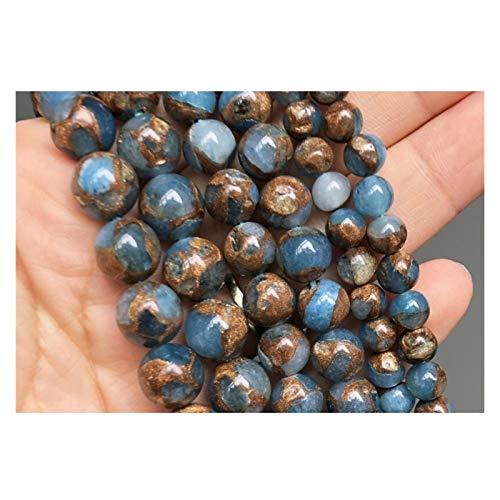 HETHYAN Cuentas de piedra redonda de Cloisonne, color azul lago para hacer joyas, pulseras, pendientes de 15 pulgadas, 6/8/10 mm (tamaño aproximado: 36 unidades)