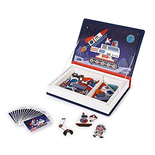 Janod - Magneti'Book Cosmos - Jeu Educatif Magnétique 70 Pièces - Apprentissage Motricité Fine et Imagination - Dès 3 Ans, J02589