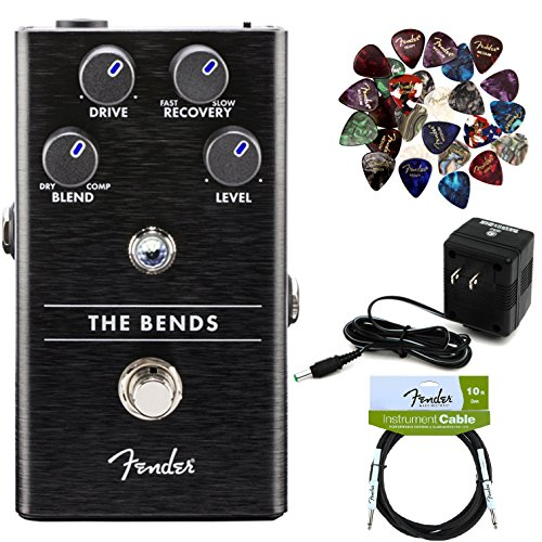 Fender The Bends Compressor Pedal Bundle with Power Supply, Fender Instrument Cable, and 24 Picks