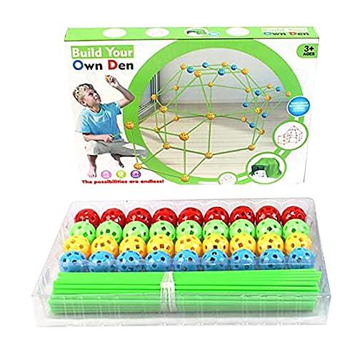 DONGMIAN Juguete Montessori Construcción para niños Construcción de fortalezas Castillos Túneles Kit de Carpas DIY 3D Play House Building Toys para niños niñas Niños Kit de construcción Fort