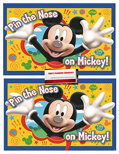 Mickey Mouse Party Game Pin The Nose on Mickey 2 Pack