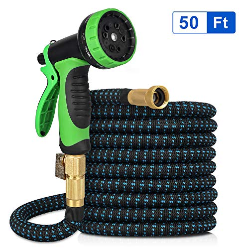 Kranich Garden Hose 50ft Expandable Garden Hose Kink-Free Flexible Water Hose with 10-Pattern Spray Nozzle