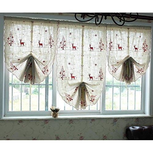 Nclon Chambre d'Enfant Rideau Rideaux,Brodé Dessin animé Secteur Semi Transparent Occultants Rideau Rideaux-Rouge W63cm*D220cm