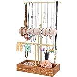 Soporte organizador de joyas de 3 niveles con base de madera, soporte de collar...