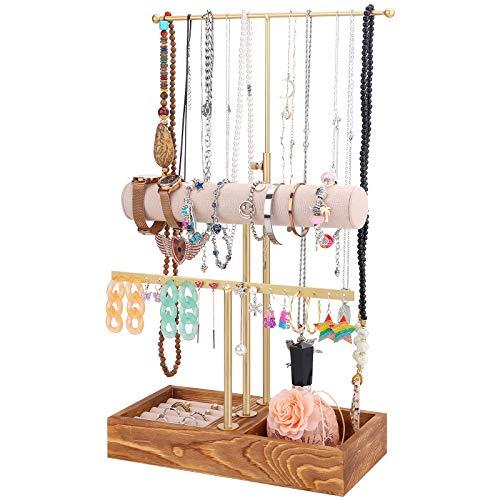 Soporte organizador de joyas de 3 niveles con base de madera, soporte de collar de altura ajustable y soporte de exhibición de barra en T, gran almacenamiento para collares, pulseras,pendientes,anillo