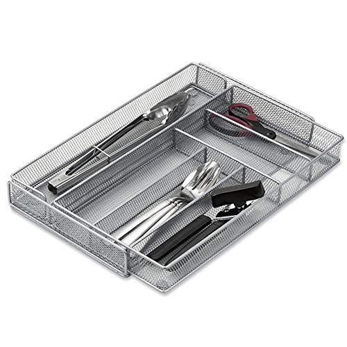 Organizador Cubertero Moderno Organizador para Cajones Separador de Cocina Oficina Baño y Dormitorio 7 Compartimentos Diseño Malla Negro