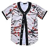 PIZOFF Unisex Arc Bottom 3D Wintersweet Print Baseball Team Jersey Shirt Y1724-94-S