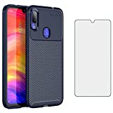 Phone Case for Xiaomi Redmi Note 7/7s/7Pro with Tempered Glass Screen Protector Cover and Cell Accessories Slim Thin Rugged Soft TPU Silicone Rubber Xiami Xiomis Xiome Redme Note7 Pro Cases Men Blue