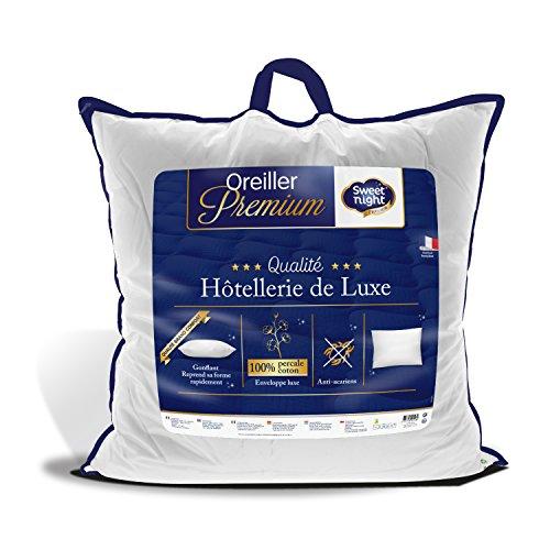 Sweetnight - Oreiller Percale | 65x65 cm | 100% Coton | Confort Gonflant et Moelleux | Anti Acariens |Qualité Hotellerie de Luxe
