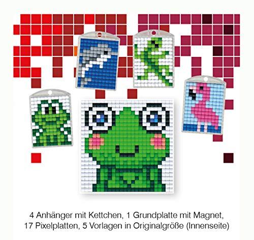 Pracht Creatives Hobby P90032-63501 - Pixel Spaß Bastelset 12, für 4 Medaillons, Schlüsselanhänger, für Kinder, Jungen und Mädchen, ideal als kleines Geschenk, Mitgebsel, für den Kindergeburtstag
