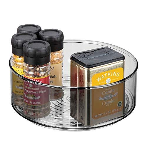 mDesign Lazy Susan Küchenregal – praktisches Gewürzregal für Küchenschrank – drehbarer Gewürzhalter aus Kunststoff mit besonders hohem Rand – rauchfarben