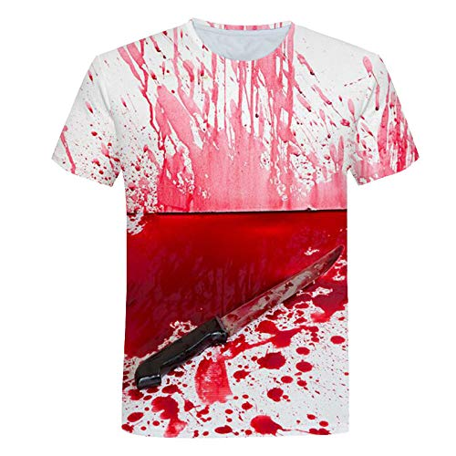 Sunofbeach Unisex 3D Gedrukt T-shirt Zomer Gepersonaliseerde Casual T-shirt met korte mouwen Tops, Mes En Bloed