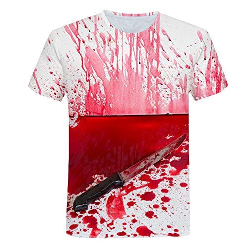 FANGDADAN 3D Printed T-Shirts,Unisex Neuheit 3D Scary Blutflecken Drucken T-Shirts Kurzarm Sommer Paar Fashion Casual Groß-Stücke Tops Für Männer Frauen Jugend Party Kostüm,XL