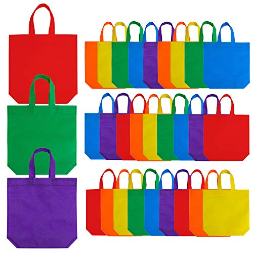 Aneco 24 Pieces 13.5 by 13.5 Inches Non-Woven Bags Party Treat Bags Bottom Goodie Bag with Handles Rainbow Colors for Party Favor