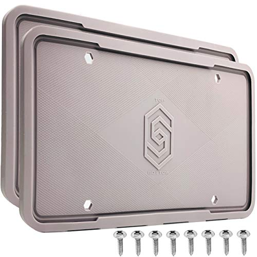 Solid Silicone License Plate Frame Covers 2 Pack- Front and Back Car Plate Bracket Holders. Rust-Proof, Rattle-Proof, Weather-Proof (Grey).