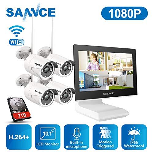 SANNCE Überwachungskamera Set mit Monitor 1080P NVR WLAN Überwachungskamerasystem und 4 * 1080P WLAN Kamera 2TB Festplatte für Innen Außen