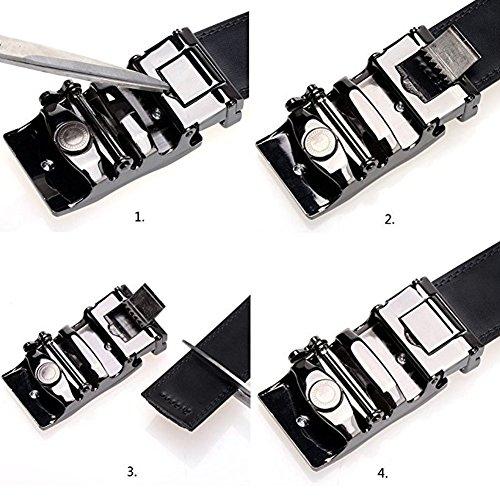 BOSTANTEN Men's Leather Ratchet Dress Belt with Automatic Sliding Buckle Belts Black