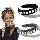 Ivyu Headbands for Women Head Bands - Diademas Para Mujer De Moda Velvet Pearl Headband Hair Accessories Hairbands for Girls No Slip Fashion Cute Headband Gifts for Women Black Gray