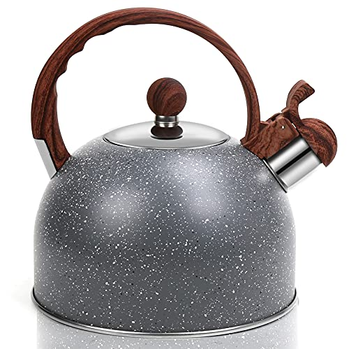 DricRoda Stove Top Whistling Kettle 2.5L Stainless Steel Kettle with Wood Grain Handle, Kitchen Water Teapot for Gas Stove, Ceramic Stove, Electric and Induction Hob - Space Grey